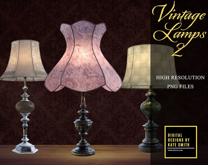 Vintage Lamps 2 Overlays, Separate PNG Files, High Resolution, Instant Download, Buy 3 get 1 free, CUOK.
