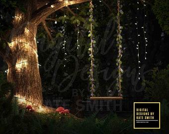 Night Garden Digital Backdrop / Background, High Resolution, Instant Download, Buy 3 get 1 free, CUOK.