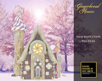 Gingerbread House Overlays, Separate PNG Files, High Resolution, Instant Download. CUOK