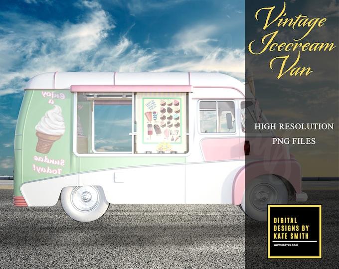 Vintage Ice Cream Van Overlays, Bonus Ice Creams Included, Separate PNG Files, High Resolution, Instant Download, Buy 3 get 1 free, CUOK.