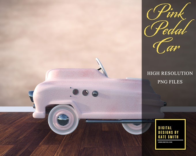 Pink Pedal Car Overlays, Separate PNG Files, High Resolution, Instant Download, CUOK, Buy 3 get 1 free.