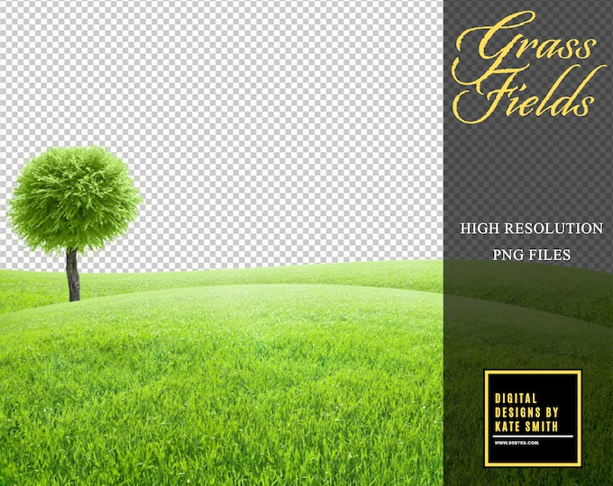 5 x Grass Field Overlays, Extra Large Files, High Resolution PNG Files, Instant Download, Buy 3 get 1 free, CUOK.