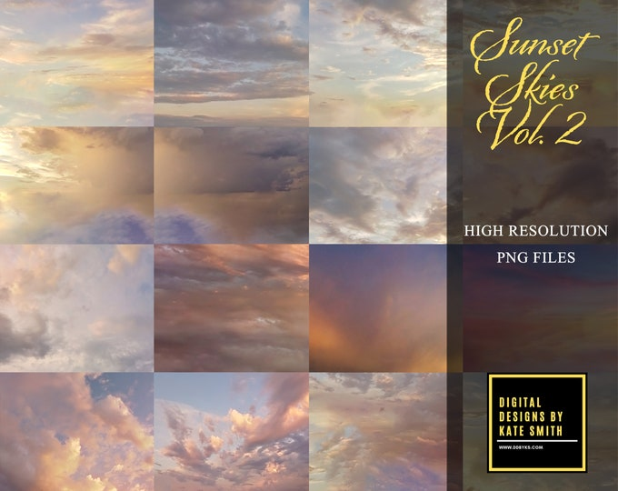 Sunset Skies Volume 2, Large Files, High Resolution, Instant Download, CUOK.