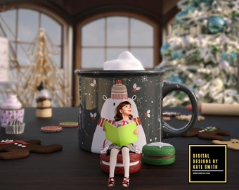 Christmas Cocoa Digital Backdrop / Background, High Resolution, Instant Download, Buy 3 get 1 free, CUOK.