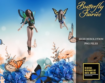 Butterfly Fairy Overlays, Separate PNG Files, High Resolution, Instant Download, CUOK.