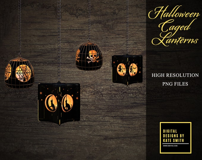 Halloween Caged Lights & Lantern Overlays, Separate Png Files, High Resolution, Instant Download, Buy 3 get 1 free, CUOK.