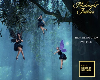 Midnight Fairy Overlays, Separate PNG Files, High Resolution, Instant Download. CUOK.