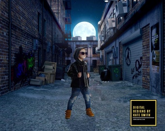 Dark Alley Digital Backdrop / Background, High Resolution, Instant Download, Buy 3 get 1 free, CUOK.