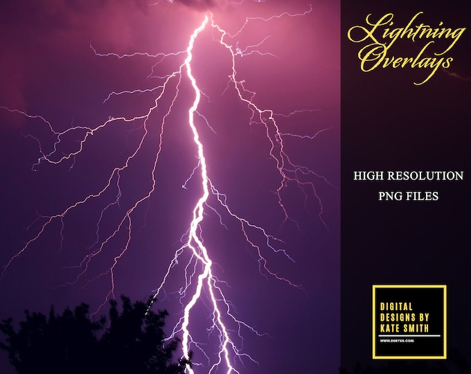 30 x Assorted Lightning Strike Overlays, Separate PNG Files, High Resolution, Instant Download, CUOK.