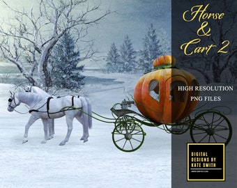 Horse & Cart 2 Overlay, Separate PNG Files, High Resolution, Instant Download, CUOK, Buy 3 get 1 free.