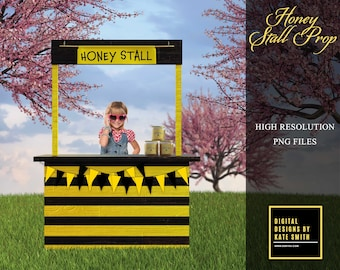 Honey Stall Overlays, Separate PNG Files, High Resolution, Instant Download, CUOK. Buy 3 get 1 FREE!