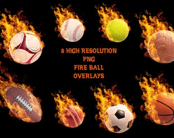 Buy 3 get one free. Fire Sports Ball Overlays, Separate PNG Files, High Resolution, Instant Download.