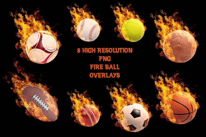 Buy 3 get one free  Fire Sports Ball Overlays, Separate PNG Files, High  Resolution, Instant Download