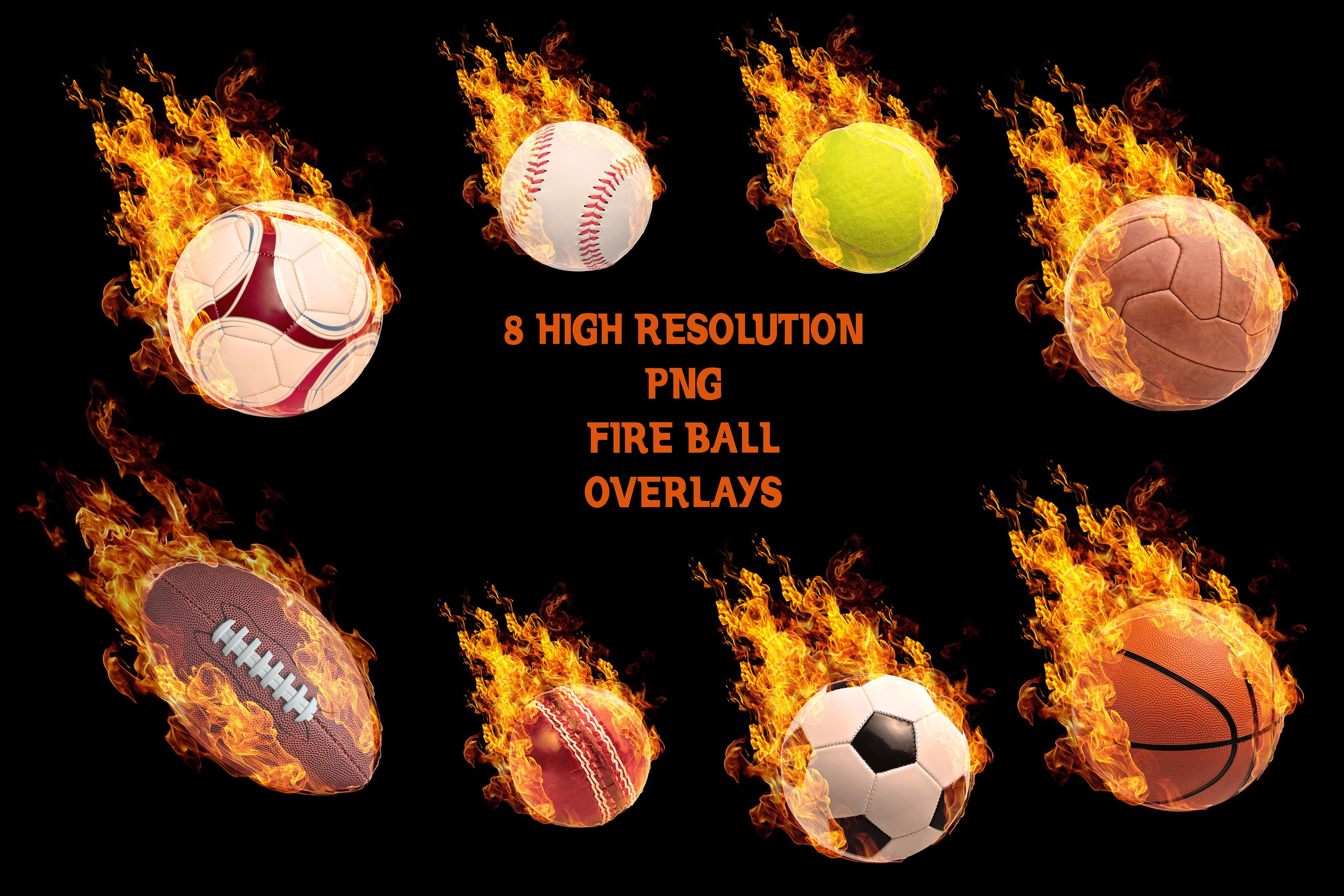 Sports Photo Overlays Digital .PNG Files for Sports Photography /& Quick Pages. FIREBALL Overlays Set 2   5 Photoshop Design