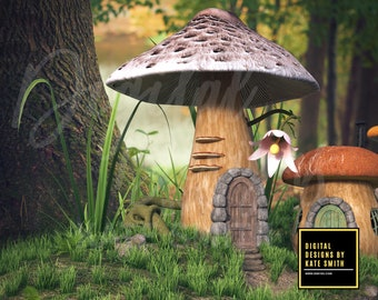 Fairy Village Digital Backdrop / Background, High Resolution, Instant Download. Buy 3 Get 1 Free.