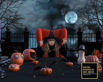 Halloween Dinner Digital Backdrop / Background, High Resolution, Instant Download, Buy 3 get 1 free, CUOK.