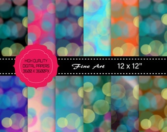 12 Soft Bokeh Digital Papers, High Resolution 300ppi, Commercial Use OK, Instant Download.