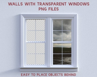 23 Walls with Transparent Window Overlays, Separate PNG Files, High Resolution, Instant Download, Buy 3 get 1 free.