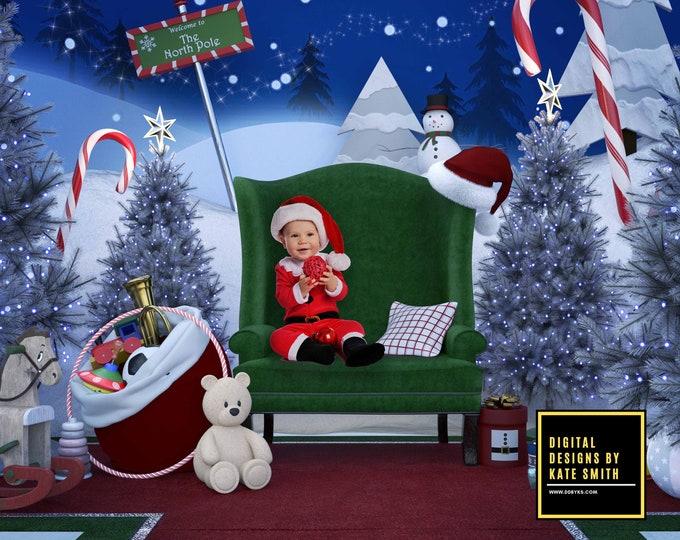 Santa's Toy Shop Digital Backdrop / Background, High Resolution, Instant Download, Buy 3 get 1 free.