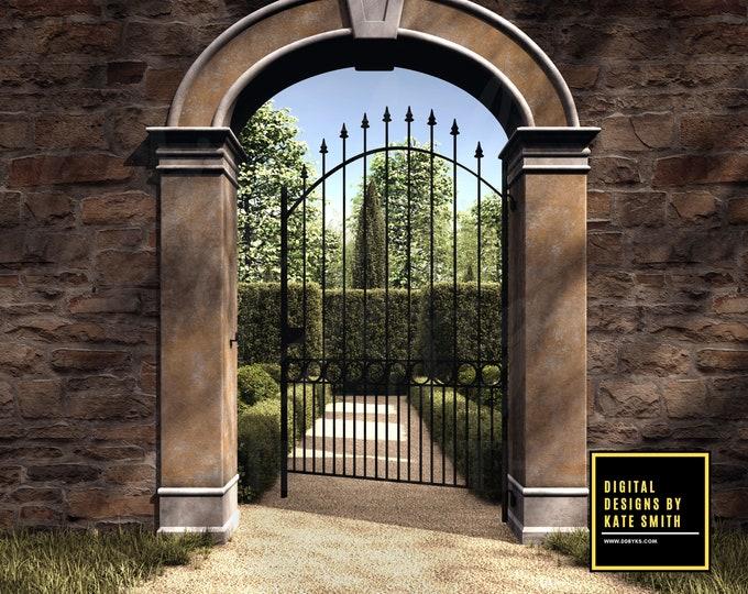 Secret Garden Digital Backdrop / Background, Entrance to a Beautiful Garden, High Resolution, Instant Download.