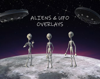 Alien & UFO Overlays, Separate PNG Files, High Resolution, Instant Download, Buy 3 get 1 free, CUOK.