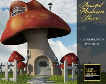 Assorted Mushroom House Overlays, Separate PNG Files, High Resolution, Instant Download. CUOK.