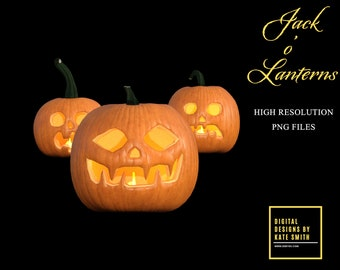 28 Jack o' Lantern Overlays, Separate PNG Files, High Resolution, Instant Download.