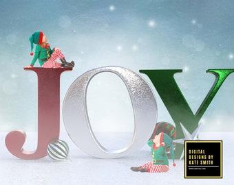 Christmas Joy Digital Backdrop / Background, High Resolution, Instant Download, Buy 3 get 1 free, CUOK.