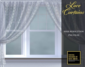 Lace Curtain Overlays, Separate PNG Files, High Resolution, Instant Download. Buy 3 get 1 free, CUOK.