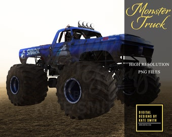 Monster Truck Overlays, Separate PNG Files, High Resolution, Instant Download, CUOK, Buy 3 get 1 free.