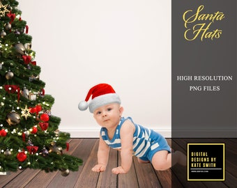 Santa Hat Overlays, Separate PNG Files, High Resolution, Instant Download, CUOK.