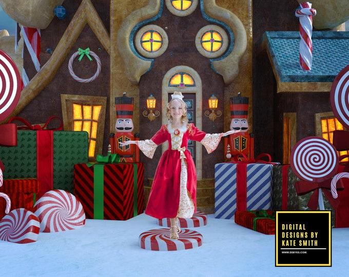 Christmas Wonderland Digital Backdrop / Background, High Resolution, Instant Download, Buy 3 get 1 free, CUOK.