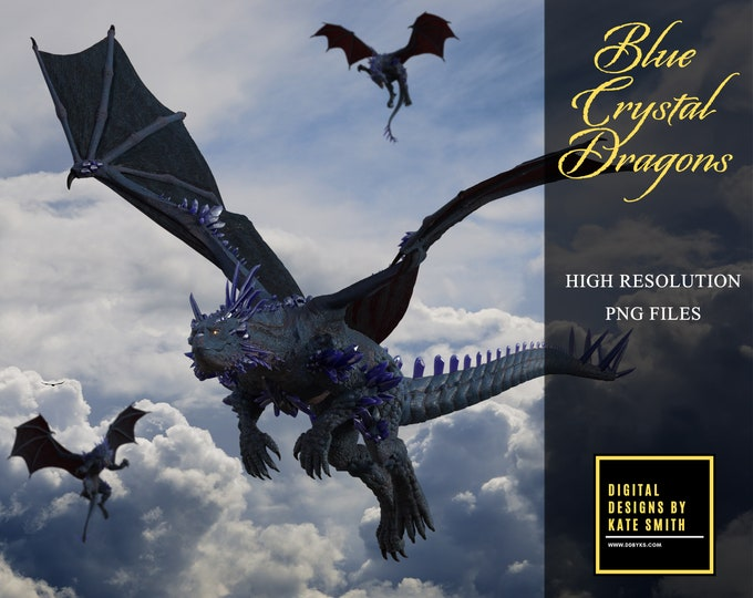 Blue Crystal Dragon Overlays, Separate PNG Files, High Resolution, Instant Download. CUOK.