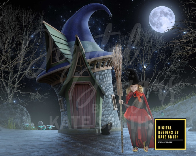 Witches Hat House Digital Backdrop / Background, High Resolution, Instant Download, Buy 3 get 1 free, CUOK.