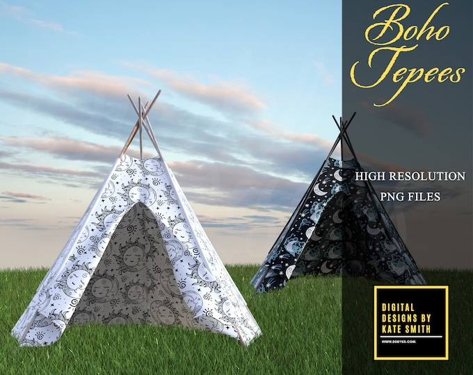Boho Tepee Overlays, Separate PNG Files, High Resolution, Instant Download, CUOK, Buy 3 get 1 free.