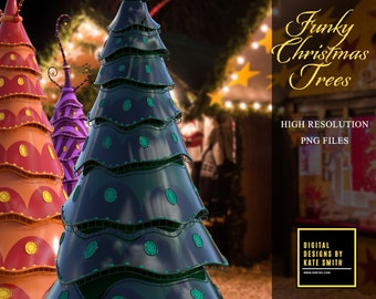 Funky Christmas Tree Overlays, Separate PNG Files, High Resolution, Instant Download. CUOK