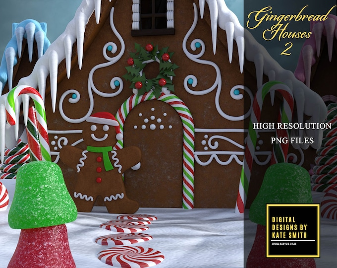 Gingerbread Houses Pack 2, Separate PNG Files, High Resolution, Instant Download, Buy 3 get 1 FREE, CUOK.