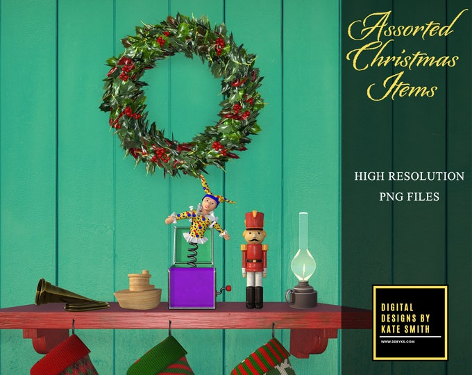 37 Assorted Christmas Overlays, Separate PNG Files, High Resolution, Instant Download, Buy 3 get 1 free, CUOK.