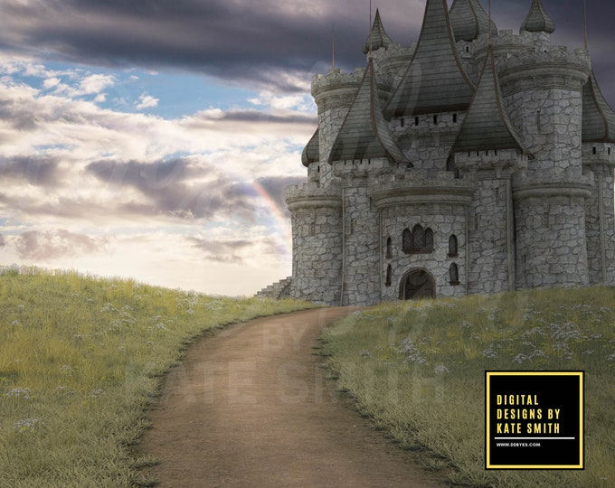 Castle on the Hill Digital Backdrop / Background, High Resolution, Instant Download, Buy 3 get 1 free, CUOK.