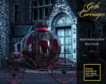 Goth Carriage Overlays, Separate PNG Files, High Resolution, Instant Download, CUOK, Buy 3 get 1 free.