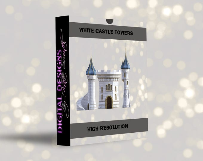 Buy 3 get one free.White Stone Castle Tower Overlays, Separate PNG Files, High Resolution, Instant Download.