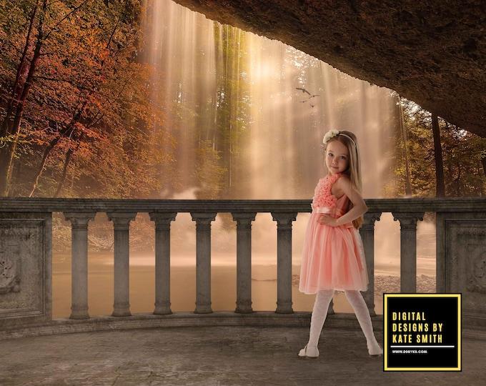 Autumn Falls Digital Backdrop / Background, High Resolution, Instant Download, Buy 3 get 1 free, CUOK.