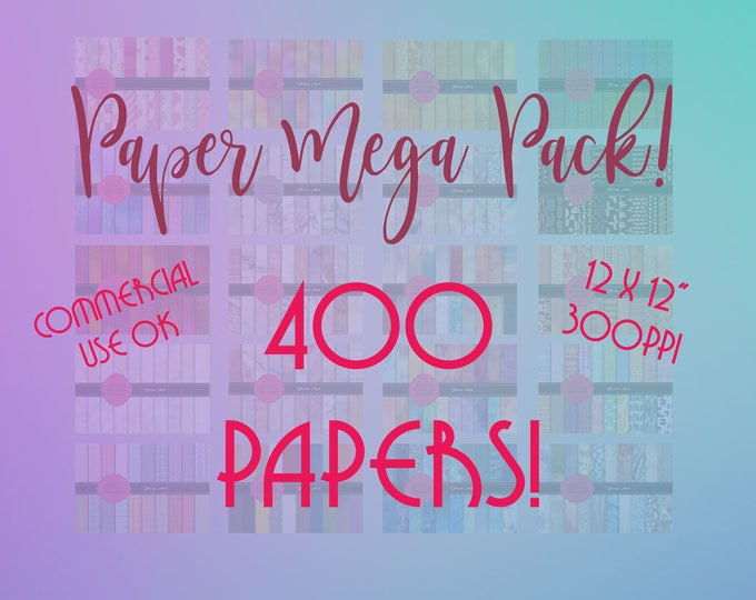 """MEGA Paper / Texture pack, 400 papers and textures, Massive discount, 12 x 12"""" 300ppi Hig Resolution, Instant Download."""