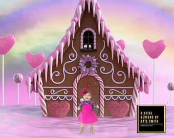 Candy House Digital Backdrop / Background, High Resolution, Instant Download, Buy 3 get 1 free.