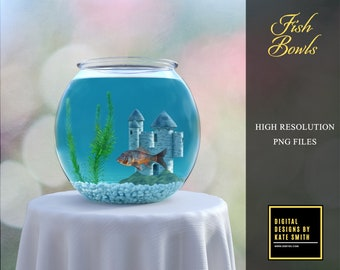 Fish Bowl Overlays, Separate PNG Files, High Resolution, Instant Download, Buy 3 get 1 free, CUOK.