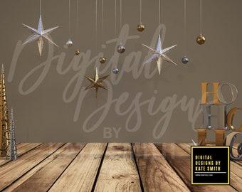 Christmas Scene Digital Backdrop / Background, High Resolution 300ppi. Instant Download.