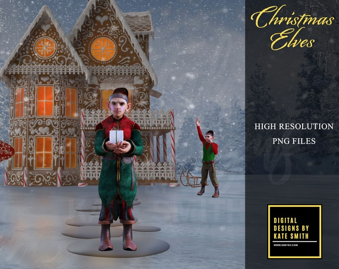 Christmas Elf Overlays, Separate PNG Files, High Resolution, Instant Download, CUOK, Buy 3 get 1 free.