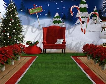 Visiting Santa Digital Backdrop / Background, 2 Backdrops, High Resolution, Instant Download, Buy 3 get 1 free, CUOK.