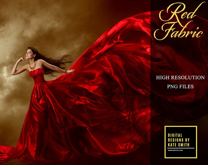 Red Flying Fabric Overlays, Separate PNG Files, High Resolution, Instant Download. Buy 3 get 1 free.