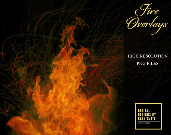 50 Fire Overlays, Separate PNG Files, High Resolution, Instant Download, Buy 3 get 1 free.